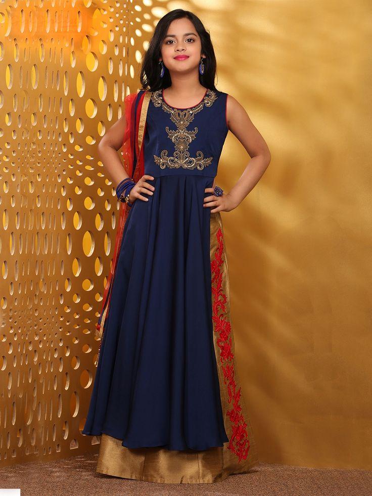 Navy Beige Raw Silk Lehenga Cum Salwar Suit Product Code: G3-GSS0430 Fabric: Raw Silk Color: Beige, Navy