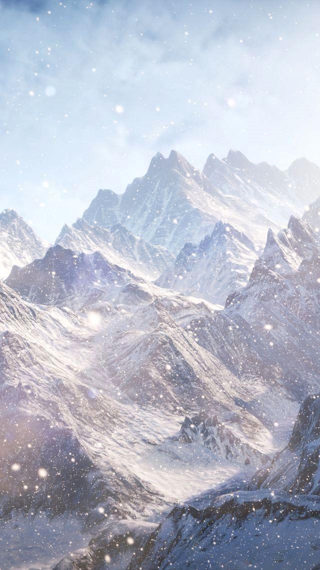 Mountain Wallpaper 4k For Mobile Trick Snow Clouds Mountain Wallpaper Iphone Wallpaper Winter
