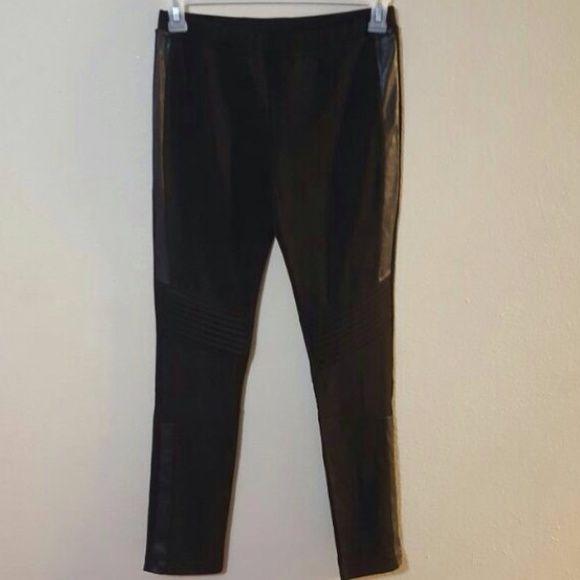 LULU'S LEATHER PANEL LEGGINGS LuLu's medium leggings. Faux leather panels. Great condition. Lulu's Pants Leggings