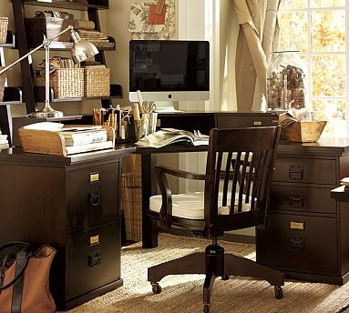Can't wait to put this modular desk in my house [in white]  Bedford Corner Desk Set #potterybarn