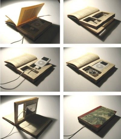 recycle book into i pod charging station (cell phone charging station)
