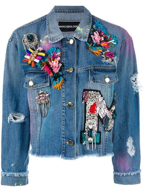 Marco Bologna - embellished apliques cropped denim jacket