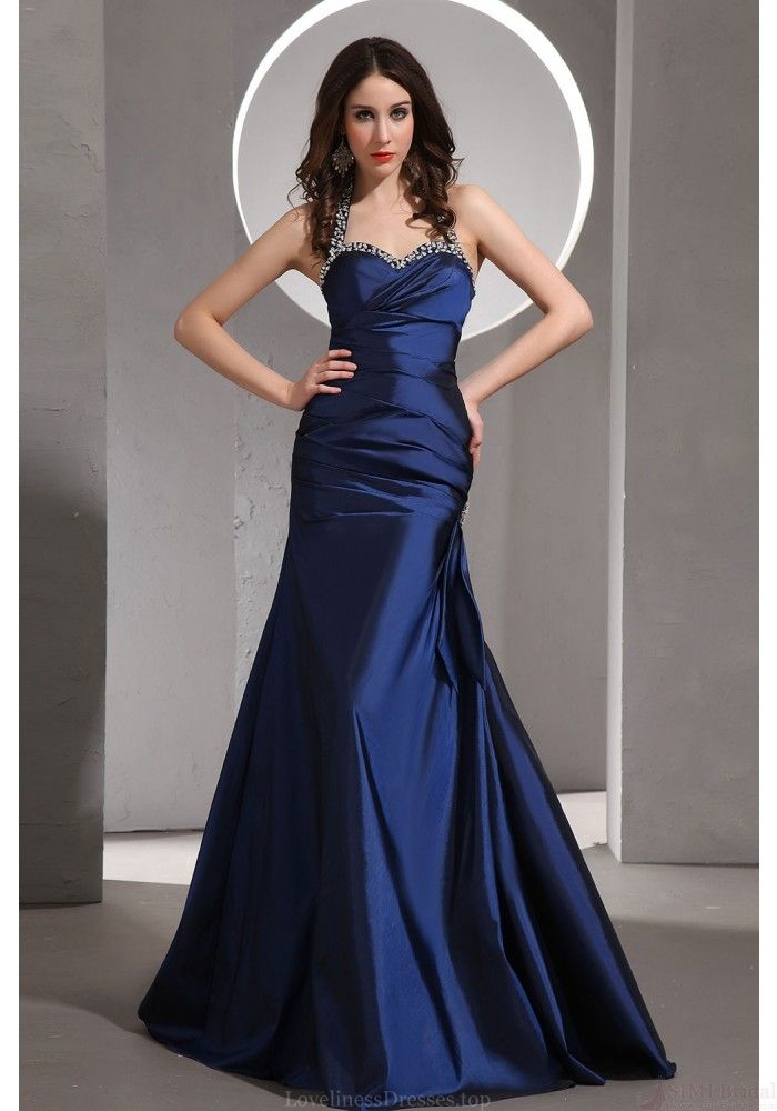 Mermaid Prom Dresses-Sheath Halter Sweetheart Floor-length Taffeta With Beading Prom Dresses