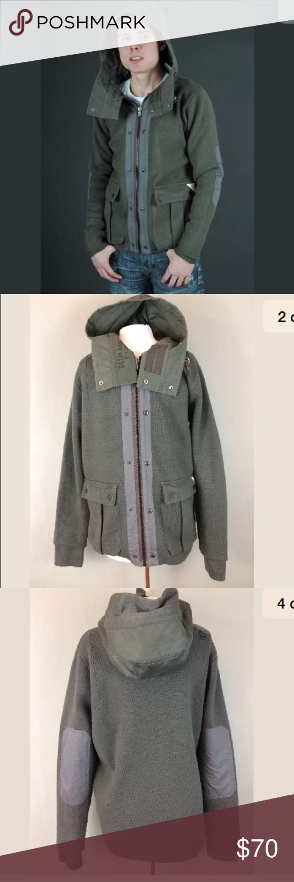 """G Star raw hooded knit jacket Pre owned g Star raw olive green Etna hooded knit jacket, size XL. Full zip front.   Armpit to armpit-22.5""""  Armpit to hem-19.5"""" g star Jackets & Coats"""