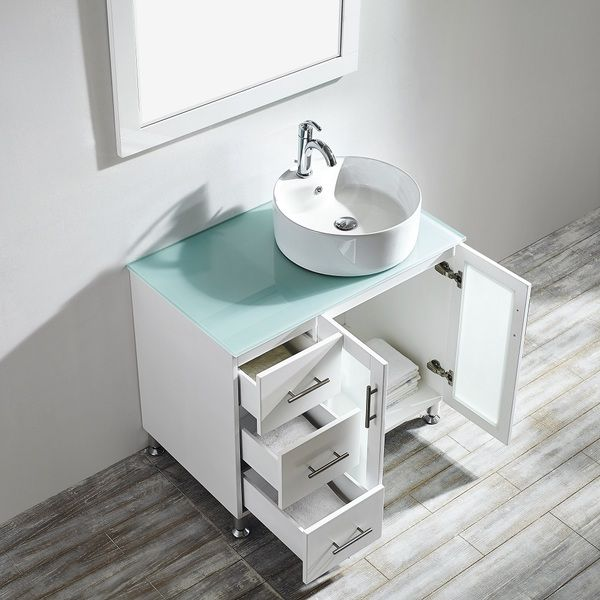 36-inch White Single Vanity with White Vessel Sink, Glass Countertop ...