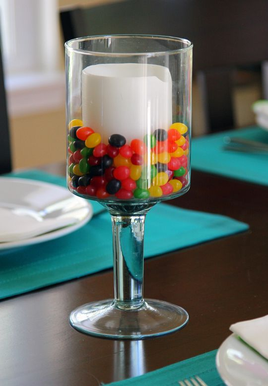 Fun Easter centerpiece... could do this any holiday candy, valentine hearts or candy corn...