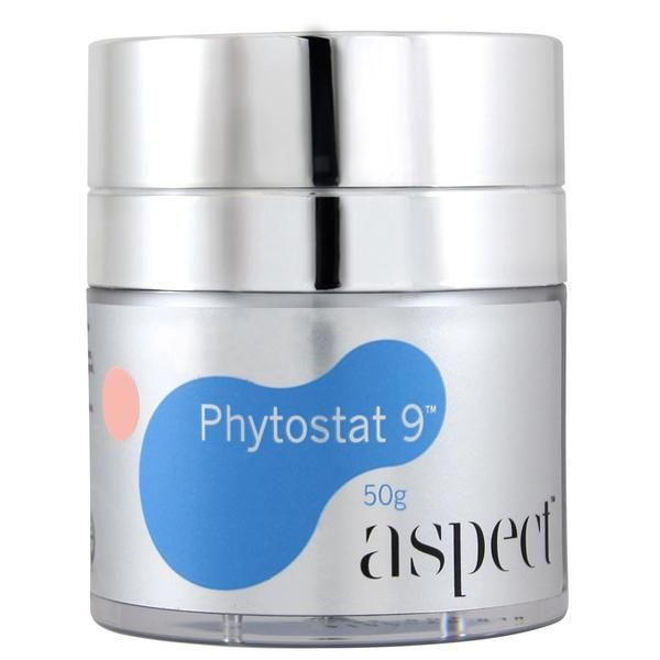 ASPECT Phytostat 9 Cream. Say goodbye to the expense and inconvenience of separate day, night, neck and eye creams.  BENEFITS: This Aspect moisturising cream is a 4 in 1, intelligent moisturiser that adjusts to the specific needs of your skin 24/7 to dramatically restore vital moisture reserves, ward off the visible signs of ageing and cosmetically correct the e...