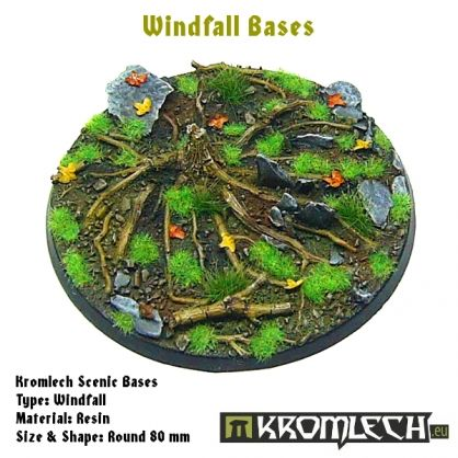 This set contains 1 round 80mm scenic base. Windfall theme.