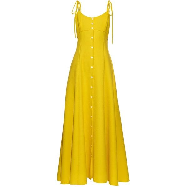 Rosie Assoulin High Garden button-down gown (£1,870) ❤ liked on Polyvore featuring dresses, gowns, yellow, empire a line dress, empire waist gown, empire waist dress, yellow a line dress and button up dress