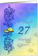 27 years Anniversary Party card Card by Greeting Card Universe. $3.00. 5 x 7 inch premium quality folded paper greeting card. Find Wedding Anniversary invitations for your special event at Greeting Card Universe. Make your event a memorable one by sending a custom Wedding Anniversary invitation. Send a Wedding Anniversary invitation from Greeting Card Universe this year. This paper card includes the following themes: Norma Cornes, Supercards, and paper. Set your Wedding Anniv...