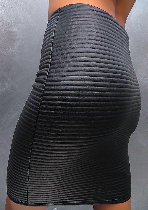 NEU 2018 ITALY LEDER OPTIK TOP LEATHER LOOK STRETCH Damen Skirt K60 Rock SCHWARZ