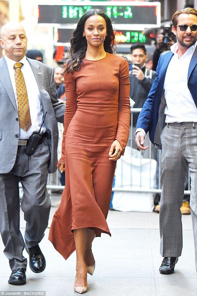 Gorgeous: Zoe Saldana stunned in a chestnut-colored number as she arrived for a Good Morning America interview in New York City on Wednesday
