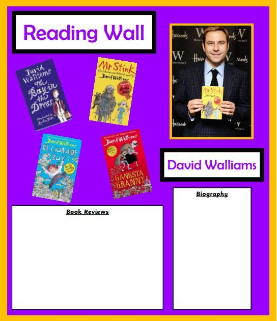 An easy to adapt David Walliams author display.
