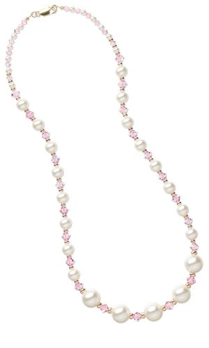 Single-Strand Necklace with Swarovski® Crystal Beads and Swarovski® Crystal Pearl Beads