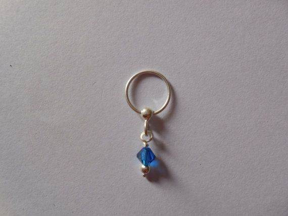 Unique Silver nose ring  with neon blue by Gemstonebeadsfinding