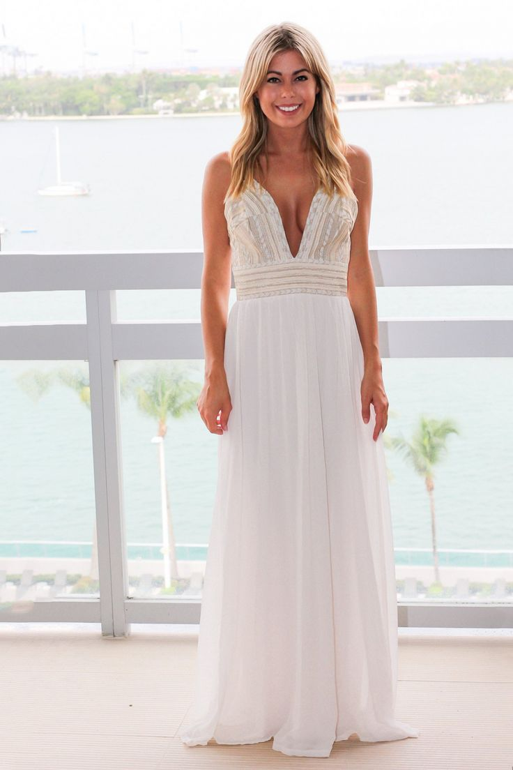 100+ Cream Maxi Dresses for Weddings - Best Shapewear for Wedding Dress Check more at http://www.dust-war.com/cream-maxi-dresses-for-weddings/