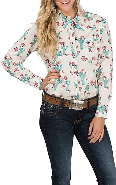 8dff7049e6901 Cowgirl Hardware Cactus Print White Western Shirt