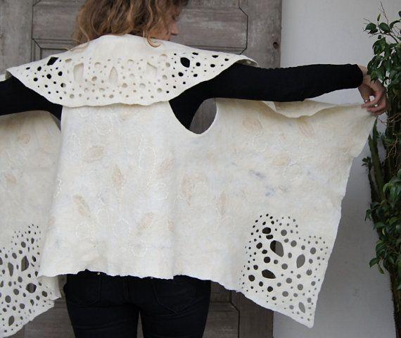 Einzigartige Gefilzte Weste Naturwolle weiße Weste mit von filcAlki