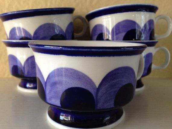 Set of 5 Vintage Mid Century Modern Hand Painted by JustMidCentury, $65.00