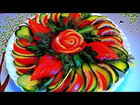 Украшения из помидоров, огурцов и лимона! Decoration of tomatoes, cucumbers and lemon! - YouTube