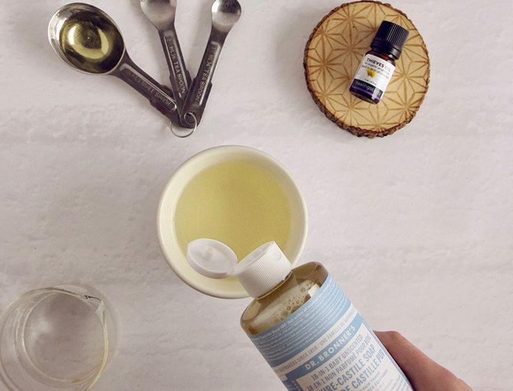 This diy hand soap is super easy to make, and best of all- it foams!