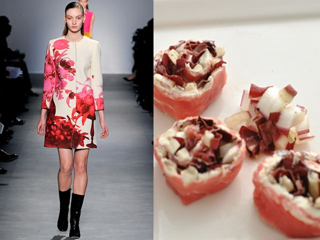 Giambattista Valli fw 2011-12 / Carpaccio wheels with fresh cheese and red chicory
