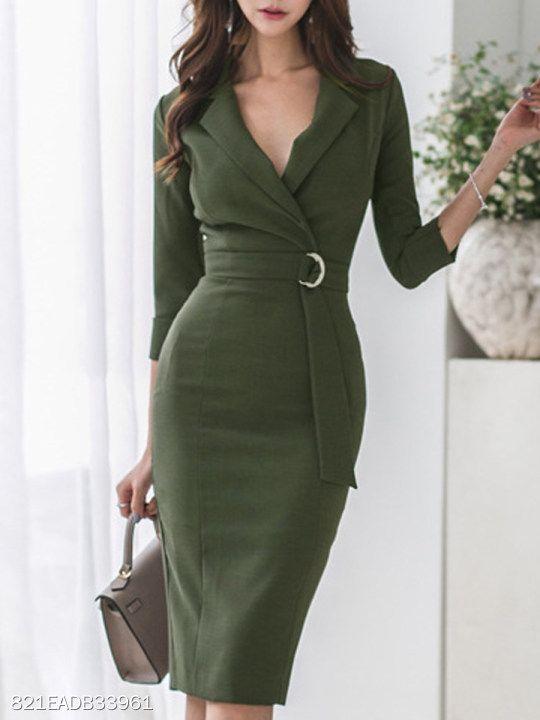 V Neck Plaid Bodycon Dress