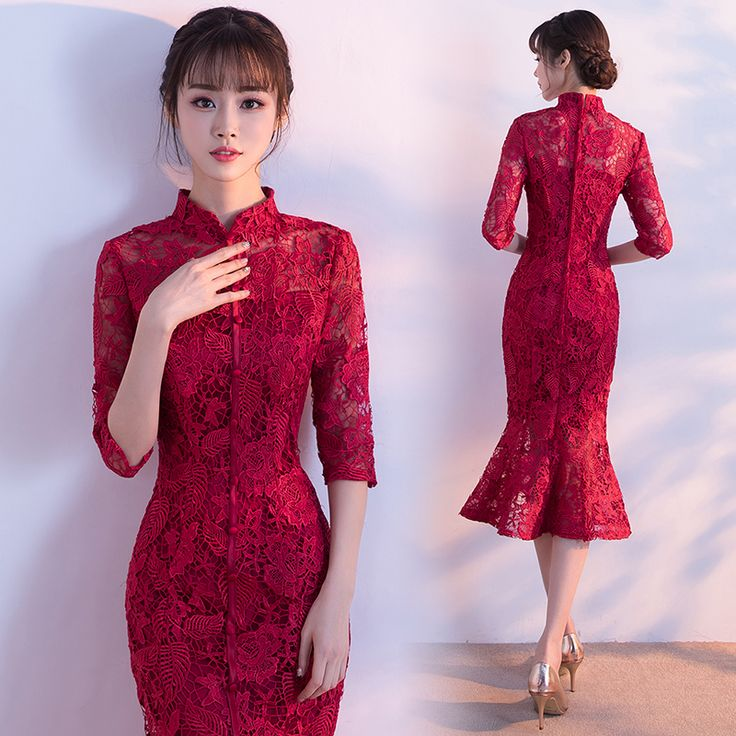 Shop elegant silk cheongsam, traditional Chinese red bridal dresses, sexy modernize Qipao from www.ModernQipao.com. Save 6% by share our products. Burgundy red lace half sleeve traditional Chinese wedding qipao