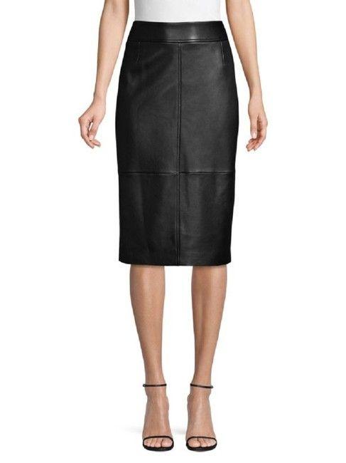 cdacf9f06 Boss by Hugo Boss Black Selrita Leather Pencil Seen On Meghan Markle Skirt  Size 6 (