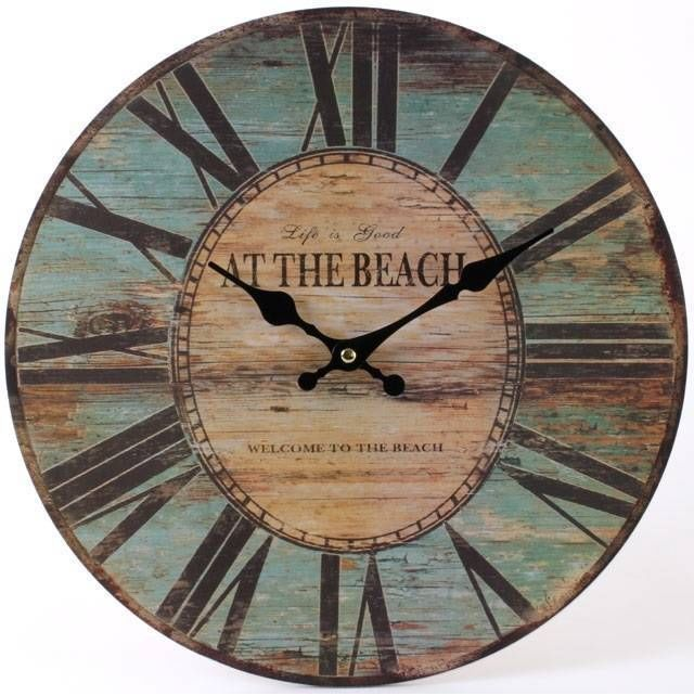 large vintage nautical wooden wall clock design life is good at the beach - Designer Large Wall Clocks