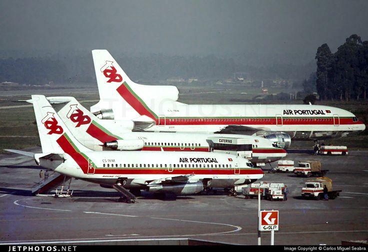 TAP Air Portugal [top to bottom] - Lockheed L-1011-385 CS-TEB c/n 293B-1240 - Boeing 727-82 CS-TBL c/n 19405/398 - Boeing 737- 282 CS-TEM c/n 23043 -  Oporto Francisco Sá Carneiro Airport Portugal, March 1980.
