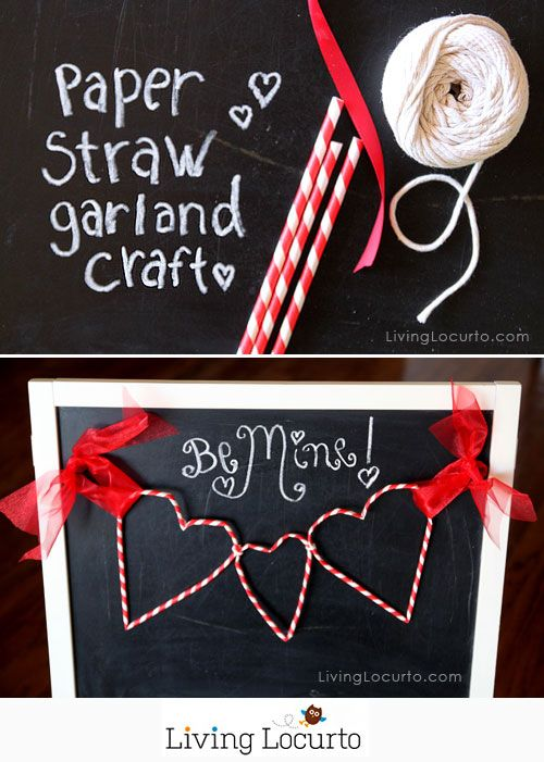 Paper Straw Heart Garland - Cute Valentines Day DIY Craft Tutorial. LivingLocurto.com