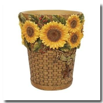 Sunflowers Wastebasket. Wastebasket From Sunflowers By Linda Spivey  Bathroom Accessories Collection. Wastebasket Size: