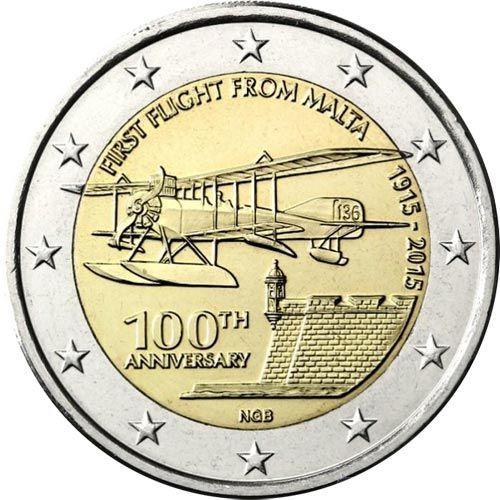 moneda conmemorativa 2 euros Malta 2015 Primer vuelo., Tienda Numismatica y Filatelia Lopez, compra venta de monedas oro y plata, sellos españa, accesorios Leuchtturm: