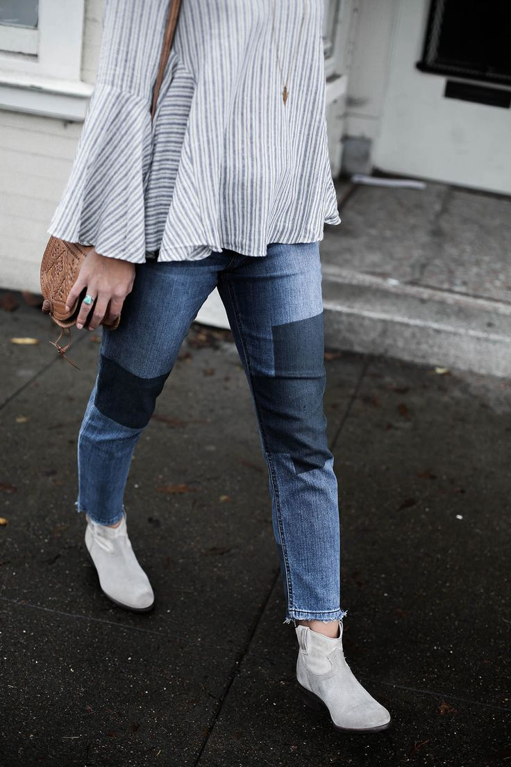 patchwork denim skinny jeans with raw hem, gray ankle boots steve madden,  fall fashion