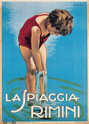 La Spiaggia di Rimini, Riviera Adriatica - Italy - vintage travel beach poster by Alberto Bianchi, 1925