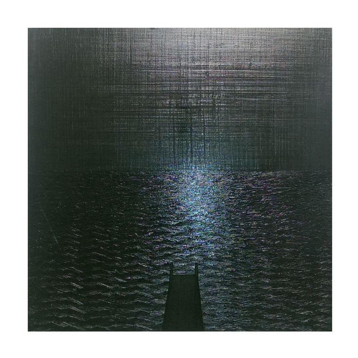 BLACK SQUARE WITH BLUE PIER (painting2015) Projectionism by Esteban Simich.