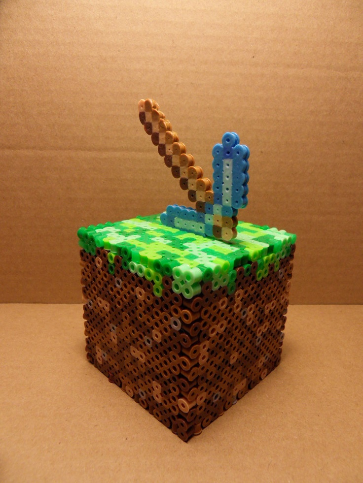 Perler Minecraft Dirt Block Coin Bank Cube with pickaxe Self assemble. $15.00, via Etsy.