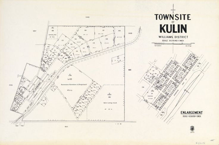 KULIN Cadastral map showing land use and zoning. Includes enlargement of town lots, scale [1:3 168. 1 in.= 4 chains] Part of collection: Townsite maps, Western Australia. https://encore.slwa.wa.gov.au/iii/encore/record/C__Rb1924232