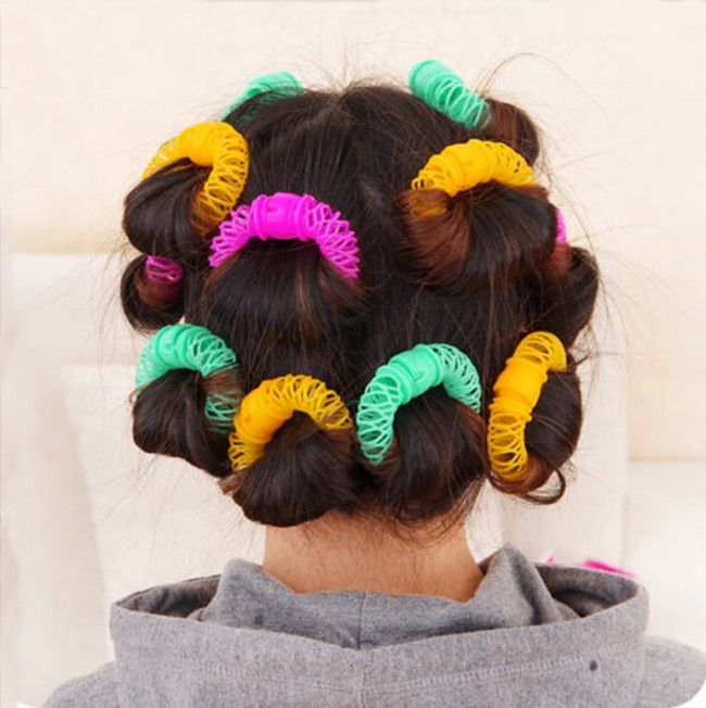 8 unids/set Nueva Hairdress Magia Bendy Estilismo Roller Rizador Espiral Rizos Herramienta de BRICOLAJE Pequeño tamaño 6.5 cm Accesorios Para el Cabello