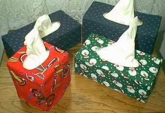 "Free Pattern and Directions to Sew a Fabric Tissue Box Cover: approximately 1/4 yard of 45"" wide fabric for a square or rectangle box of tissues"