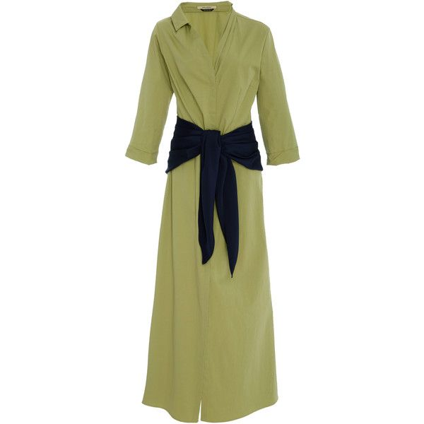 Hellessy Magda Cotton Faille Full Length Dress (1,630 CAD) ❤ liked on Polyvore featuring dresses, green, cotton day dress, shirred dress, v neck ruched dress, green cotton dress and v-neck dresses
