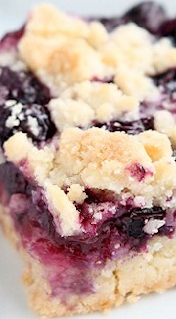 Blueberry Crumb Bars. This dessert should come with a warning label, because it is ADDICTIVE! It's that buttery crust and crumble with the sweet, plump blueberries…I die!