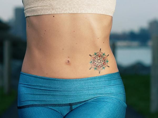 Our Blue Henna Mandala Temporary Tattoo represents balance and unity in our personal journey through life. This custom henna tattoo design is perfect for the yoga fanatic or for everyday use. - Tattoo