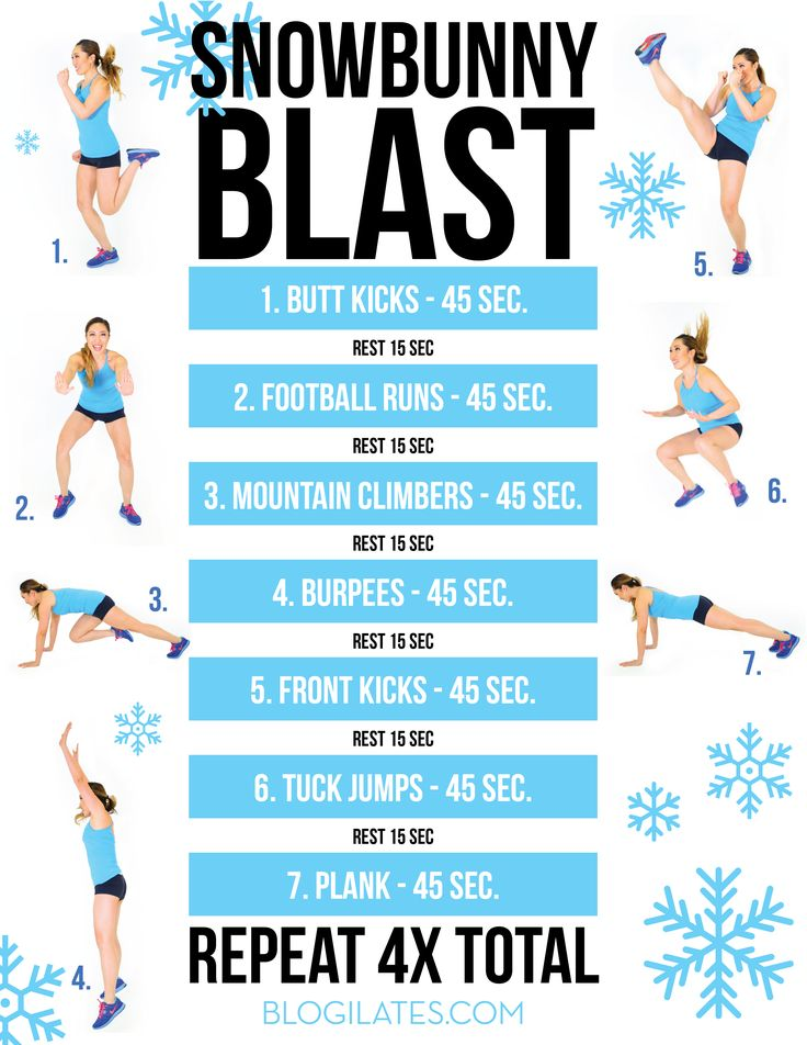 This is your Snowbunny Blast routine that you will be doing every Wednesday for the month of December! Description from blogilates.com. I searched for this on bing.com/images
