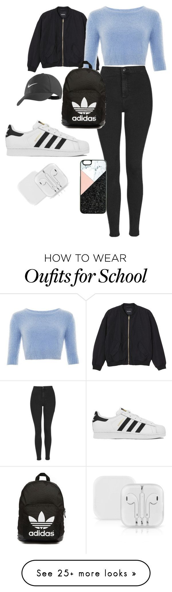 School Outfit by halldoraeinarsdottir on Polyvore featuring Monki, Topshop, adidas, adidas Originals, NIKE, BaubleBar, womens clothing, women, female and woman