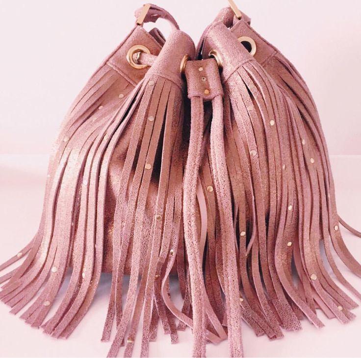 Fringe Bucket crystal pink