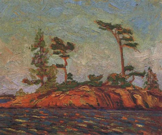 """""""Island 182, Split Rock Group, Georgian Bay,"""" Tom Thomson, oil on panel, 8.4 x 10.4"""", private collection."""
