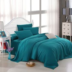 All Teal Plain Colored Luxury Noble Simply Chic Western Style Expensive  Unique Reversible Microfiber Tencel Full