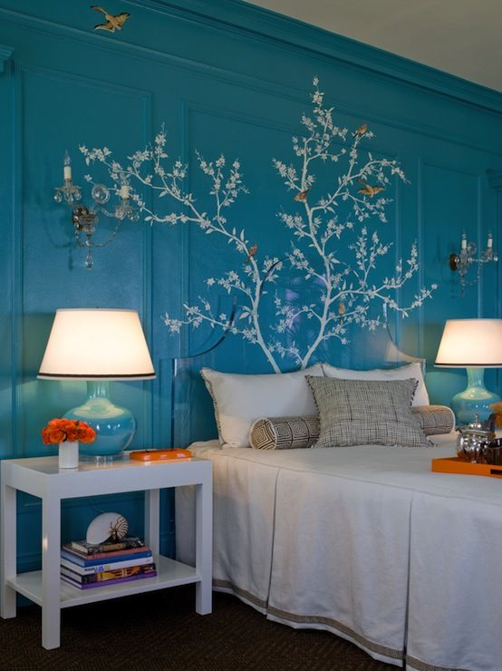 Turquoise Wood Paneled Walls Overlaid With A Hand Painted Branch And Bird Mural Traditional Bedroombedroom Ideasbedroom